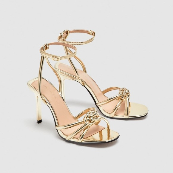 53c2fd272 Zara Shoes | Nwt Gold Strappy Heels With Knot Detail 839 | Poshmark